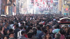Istanbul shopping street crowds busy people crowded weekend Turkey Stock Footage