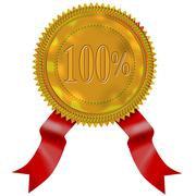 gold seal red ribbon 100% - stock illustration