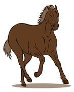 horse galloping retro. - stock illustration