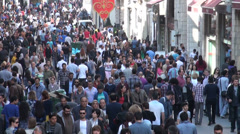 Istanbul shopping street, Istiklal Avenue, downtown, pedestrians, crowd Stock Footage
