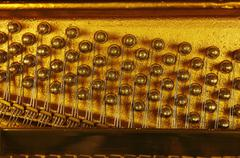 Germany, Close up of piano strings Stock Photos