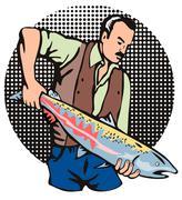 Kalastaja lohi kala retro. Piirros