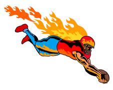 Football touchdown flames. Stock Illustration
