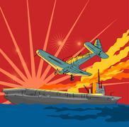 airplane attacking ship - stock illustration