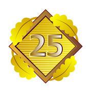 Number 25 in diamond. Stock Illustration