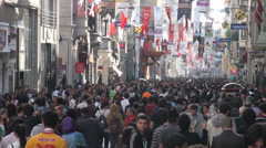 Busy shopping street on Saturday afternoon, Istanbul crowd commerce Stock Footage