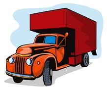 truck movers vintage retro - stock illustration