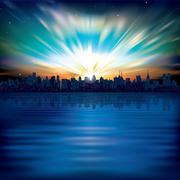 abstract background with silhouette of city - stock illustration
