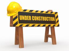 barrier with text under construction and hardhat. 3d - stock illustration