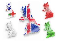 Three-dimensional map of great britain on white isolated background. 3d Stock Illustration