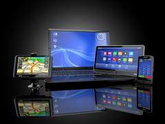 Electronics. laptop, mobile phone, tablet pc and gps. 3d Stock Illustration