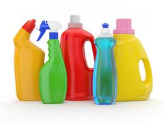 different detergent bottles on white background. 3d - stock illustration