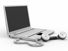 Stock Illustration of laptop with old-fashioned phone reciever on white background. 3d