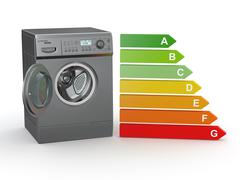 washing machine with the scale of energy efficiency. 3d - stock illustration