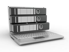 Stock Illustration of archive. laptop with folders instead of the screen. 3d
