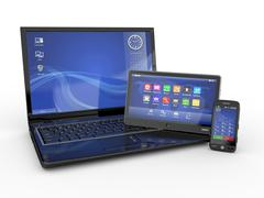 Electronics. laptop, mobile phone and tablet pc. 3d Stock Illustration