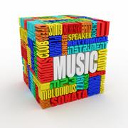 music. the concept of the words on white isolated background. 3d - stock illustration