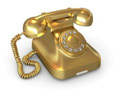 Golden phone on white isolated background. 3d Stock Illustration