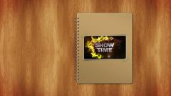 02 showtime book cover greenscreen Stock Footage