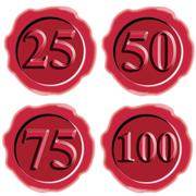 Number icon seal wax Stock Illustration
