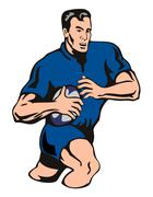 Stock Illustration of rugby player attacking BLUE