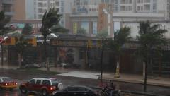 Violent Hurricane Eye Wall Wind Lashes City Streets - stock footage