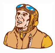 world war two pilot airman retro. - stock illustration