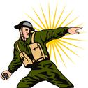 Stock Illustration of soldier throwing grenade