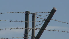 Barbed Wire Security Fence Stock Footage