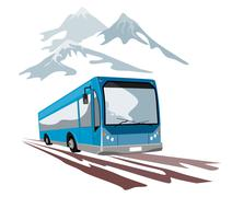 Shuttle coach bus and mountains. Stock Illustration