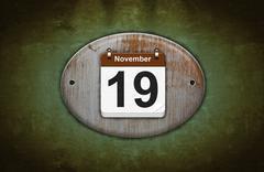 Stock Illustration of old wooden calendar with november 19.