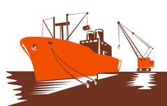 Matkustaja-aluksen nosturilla Piirros