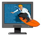 Stock Illustration of surfer on the net