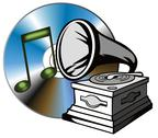 Stock Illustration of phonograph with treble clef