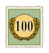 Number 100 in stamp. Stock Illustration