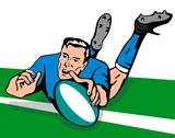 Stock Illustration of rugby player swan dive