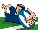 Stock Illustration of rugby dive try