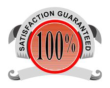 Stock Illustration of 100% satisfaction guaranteed shield curly ribbon