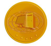 Pc computer in gold coin Stock Illustration