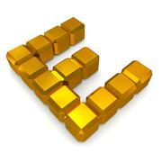 Stock Photo of letter e cubic golden