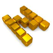 Stock Photo of letter n cubic golden