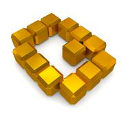 Stock Photo of letter q cubic golden