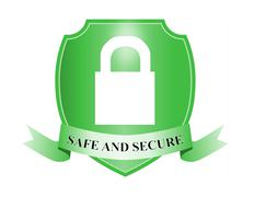 safe and secure padlock in shield - stock illustration