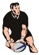 Rugby passing front left black Stock Illustration