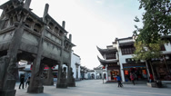 Stock Video Footage of Low angle view of Chinese ancient stone archway .