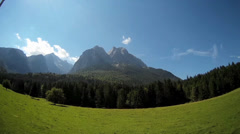 Fisheye Pan landscape of the Alps Garmisch-Partenkirchen Bavaria Germany Stock Footage