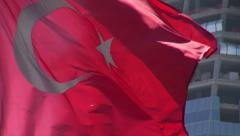 Turkish flag, construction site Stock Footage
