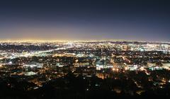 Los angeles skyline at night Stock Photos