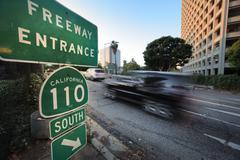 Car entering freeway Stock Photos
