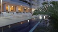 Luxury Hotel Pool at Night Stock Footage